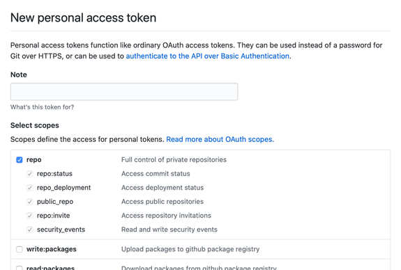 Screenshot of the New Personal Access Token screen on GitHub