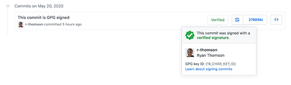 Screenshot of a verified commit on GitHub