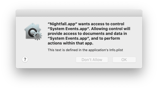 An automation permission dialog in macOS, containing a usage string